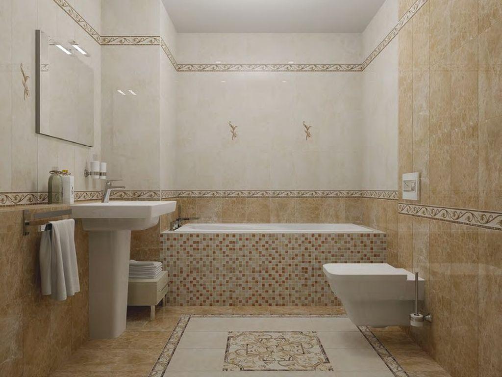 В маленькую ванную подбирают глянцевую плитку