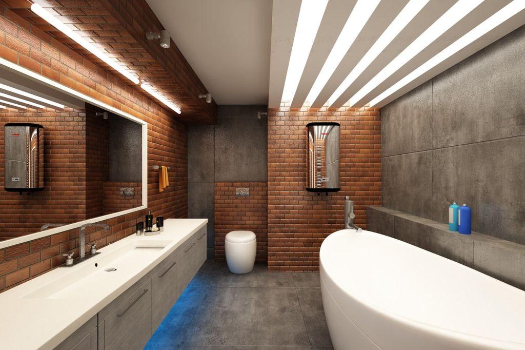 Кирпичные стены и необработанный камень являются основным акцентом стиля лофт