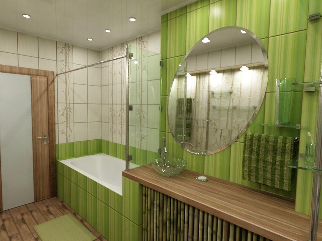 В тропическом стиле можно использовать бамбук и плитку с рисунками