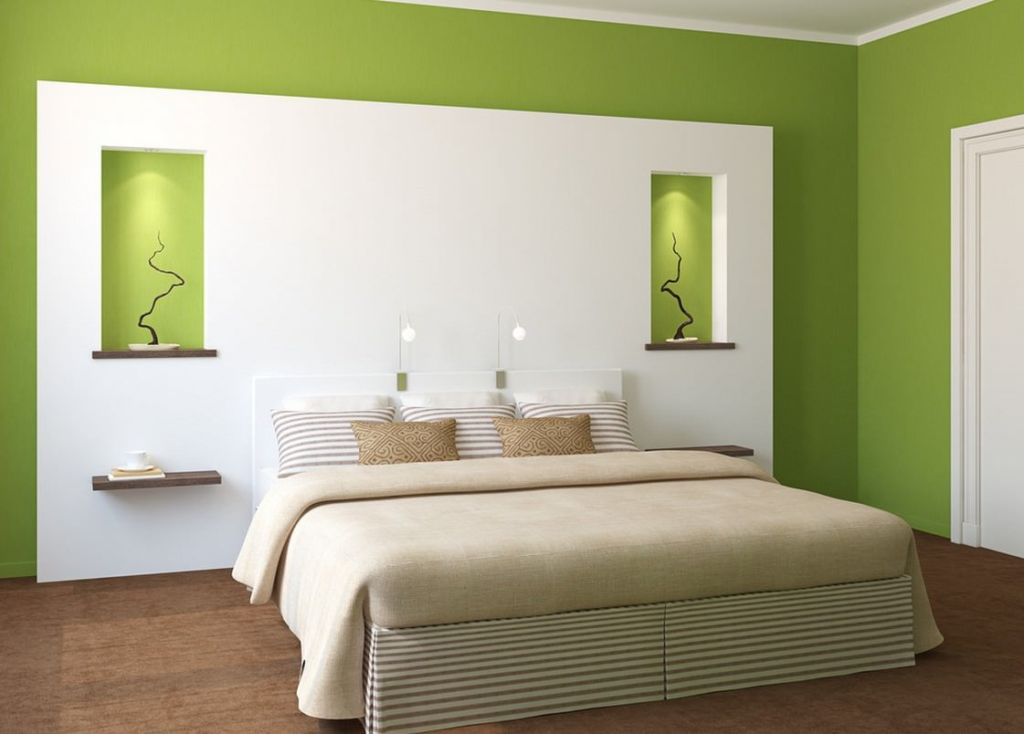 Палитра красок для спальни в зеленых тонах