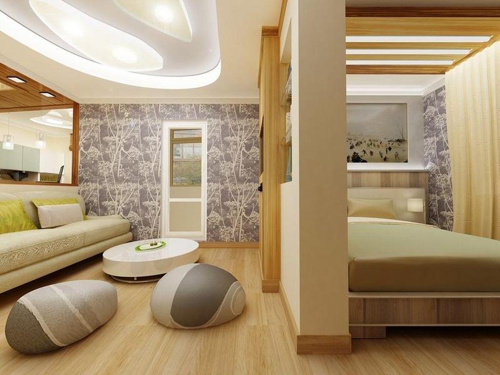 Удобным и стильным вариантом зонирования является перегородка в виде открытого стеллажа