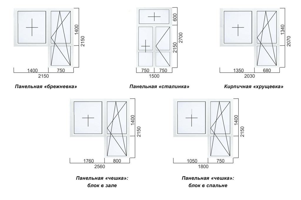 Стандартные размеры балконных блоков