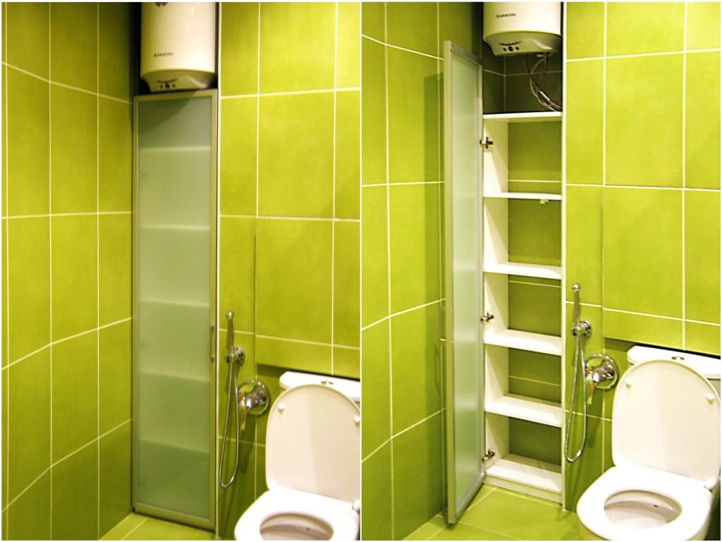 Шкафчик в туалете салатового цвета