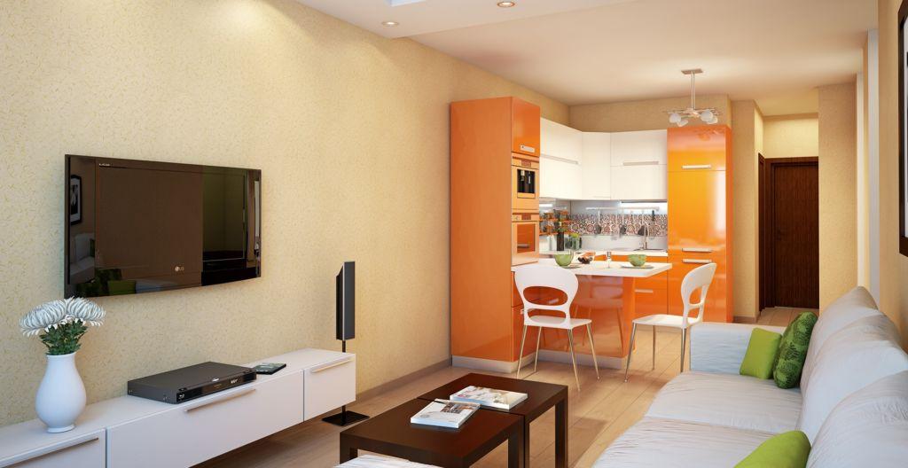 Цветовое зонирование наиболее популярно для кухни-гостиной