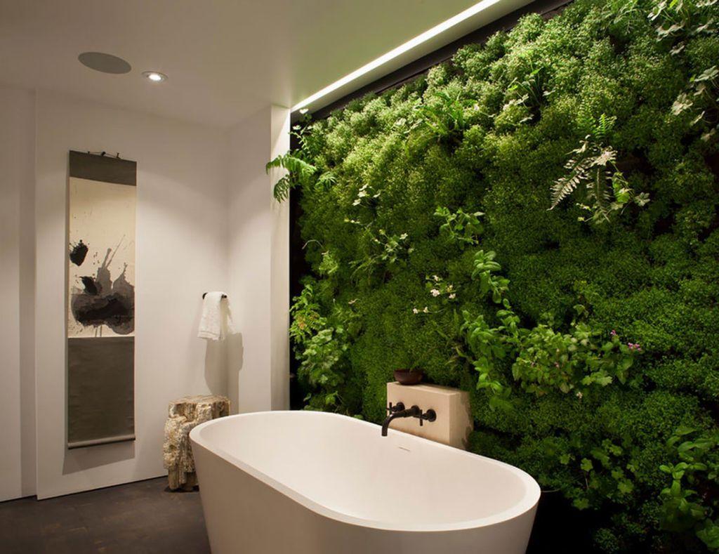 Перегородка для ванной с растениями