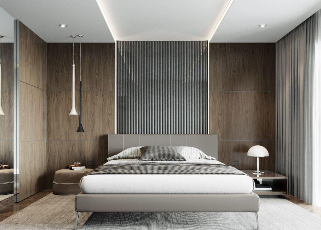 Можно получать основной свет сразу от нескольких приборов – ламп у изголовья кровати и настенного светильника