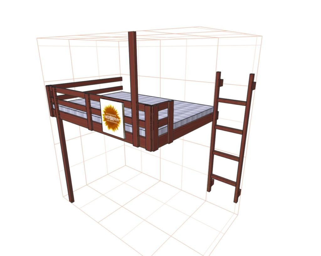 Схема кровати под потолком - отличное дизайнерское решение