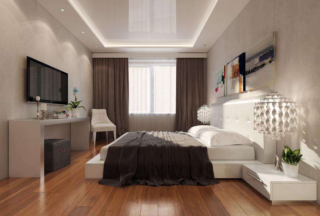 Освещение в спальне необходимо планировать заранее, так как после установки натяжного потолка это будет проблематично