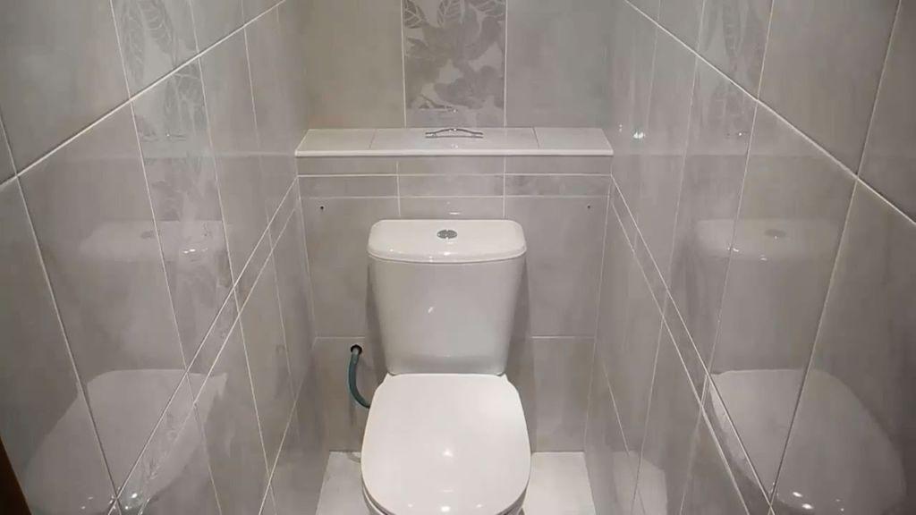 Вариант установки и оформления гипсокартонного короба в туалете