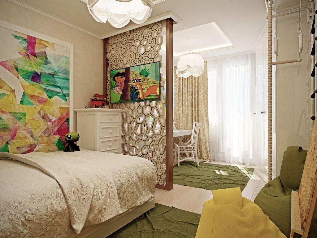 Если площадь спальни позволяет, рабочие зоны лучше разместить в разных углах комнаты
