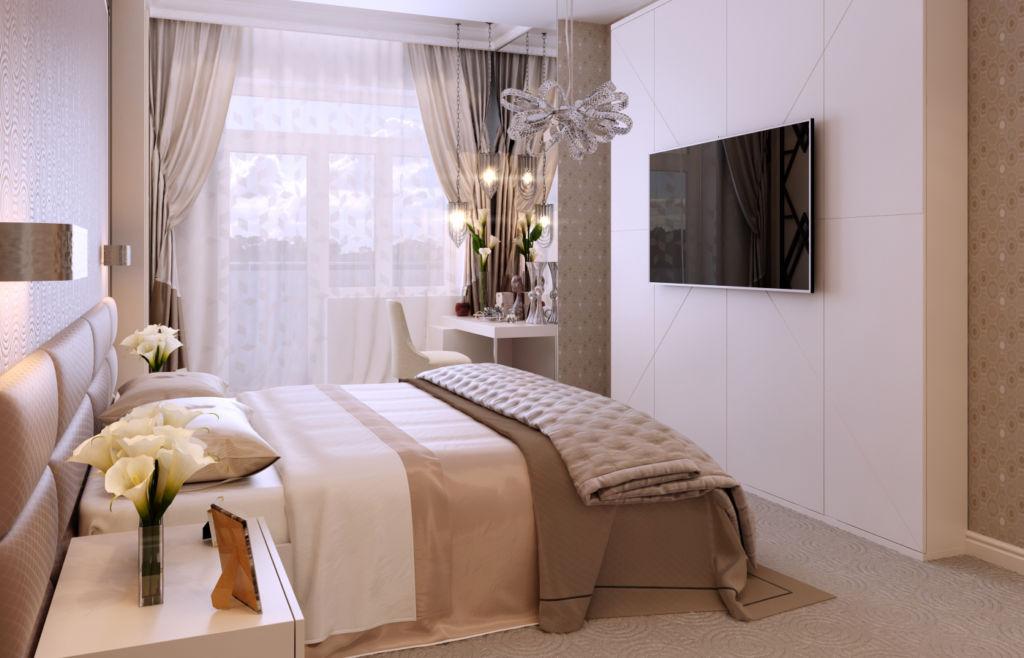 Света в спальне в стиле арт-деко непременно должно быть много