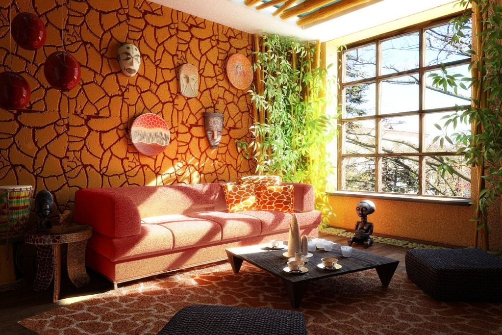 В этнических стилях будут хорошо смотреться рельефные камни разного размера красных и жёлто-коричневых тонов