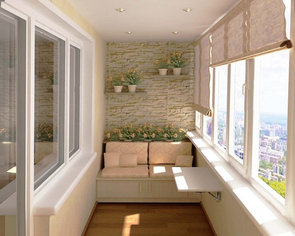 Балкон с отделкой декоративным камнем изнутри