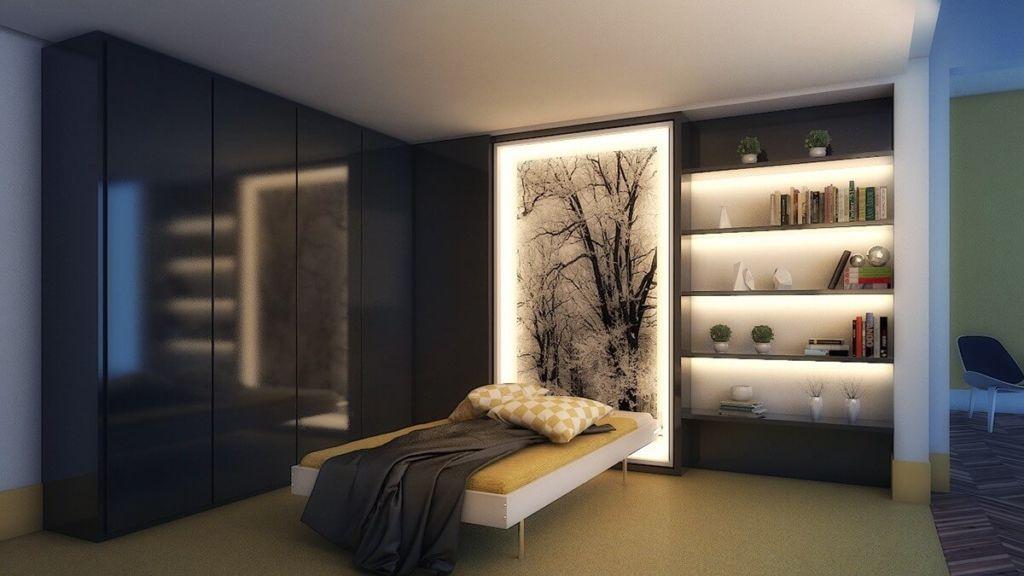 Точечное освещение в спальне с натяжными потолками визуально расширяет пространство комнаты
