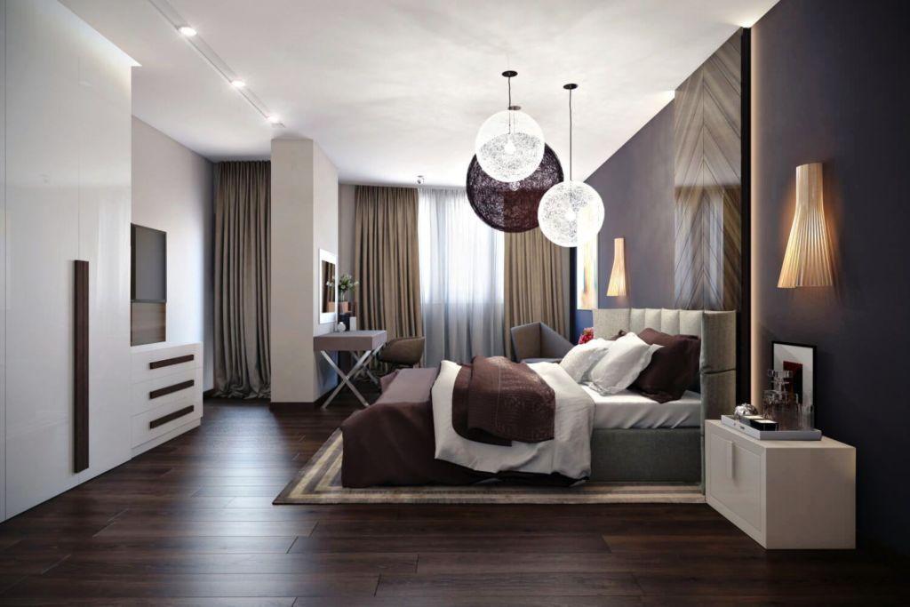 Присутствие природных оттенков в минималистической спальне будет весьма кстати