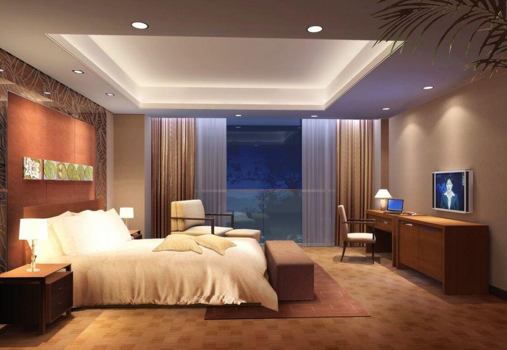 Идеальный вариант – точечные светильники, их развешивают по углам и в центре комнаты