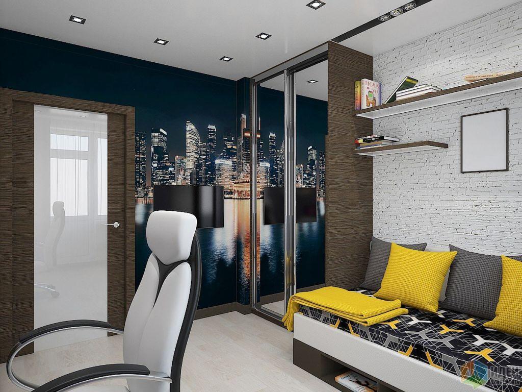 Можно сделать потолок глянцевым, чтобы в нем отражался свет от светильников, делая его визуально выше, а комнату — больше