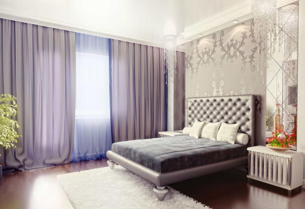 Часто используется сочетание нескольких оттенков или оформление одной стены узорчатыми обоями