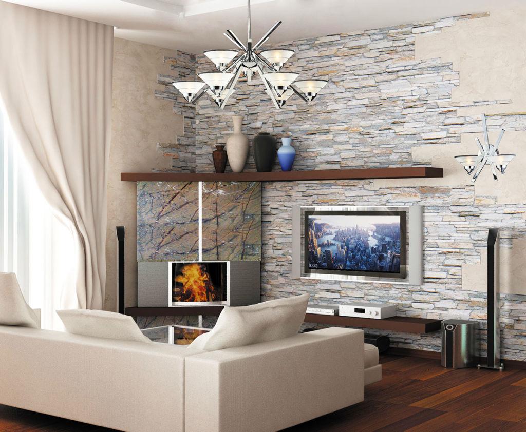 Отделка стен в квартире декоративным камнем и обоями