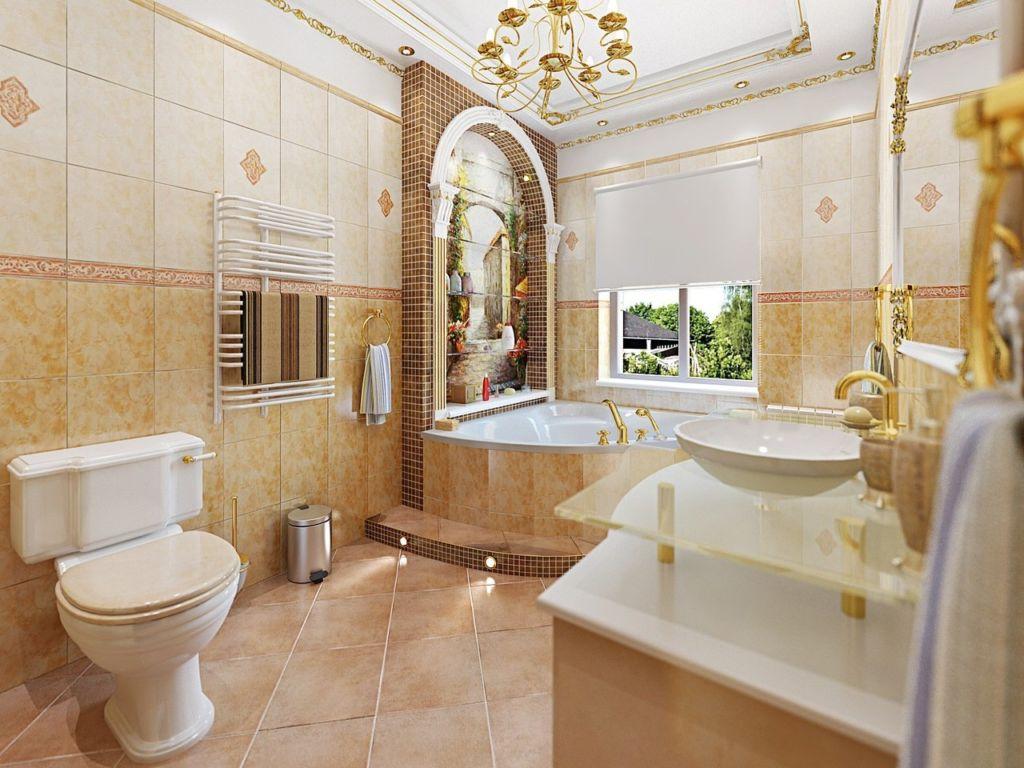 Ванная с окном в средиземноморском стиле