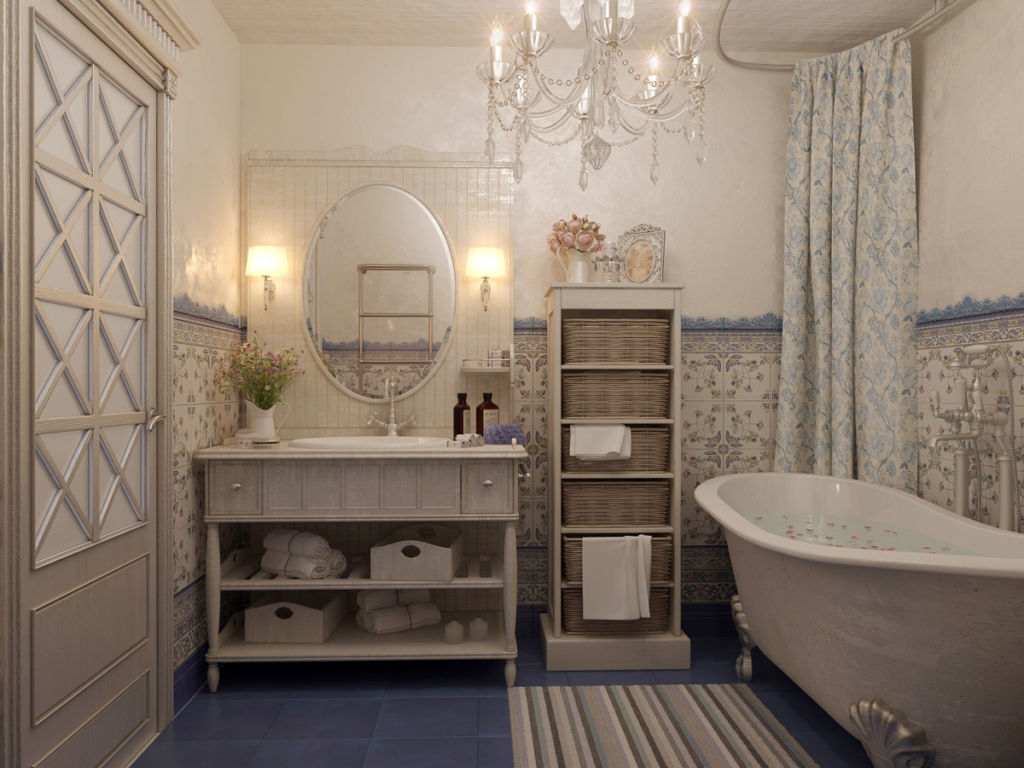 При отделке ванной в стиле прованс рекомендуется отказаться от крупных принтов или комбинирования узоров