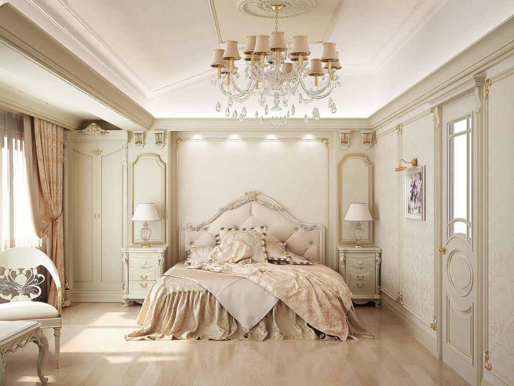 Массивная люстра с хрусталем и декоративными элементами будет органично выглядеть в спальне классического дизайна