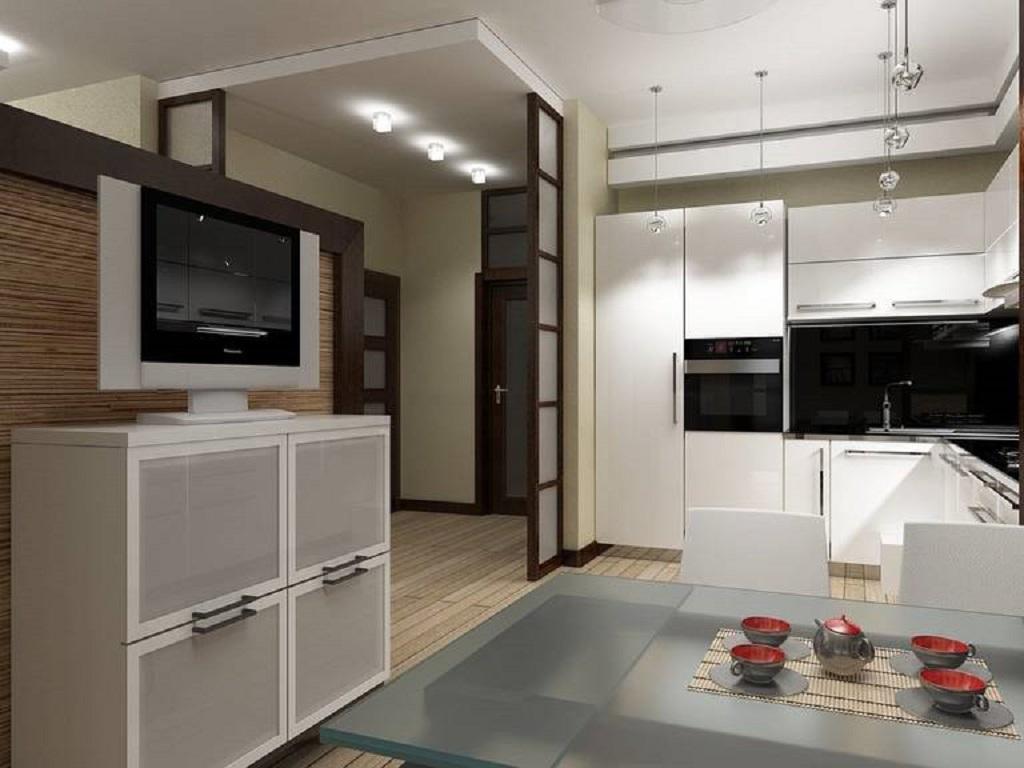 На кухне-прихожей не устанавливают открытые полки и рейлинги — они создают визуальный хаос, быстро копят пыль и грязь