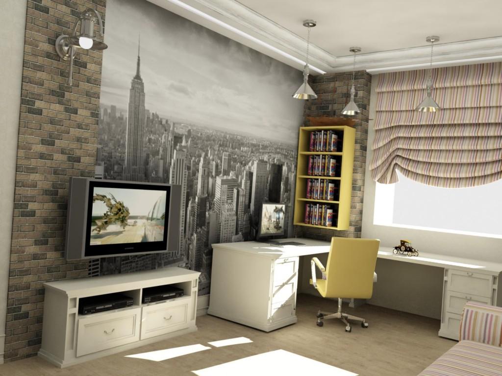 Стильная комната подростка с фотообоями