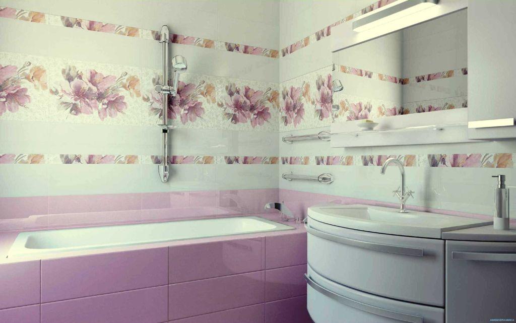 Керамическая плитка в ванной комнате в стиле печворк в светлых тонах