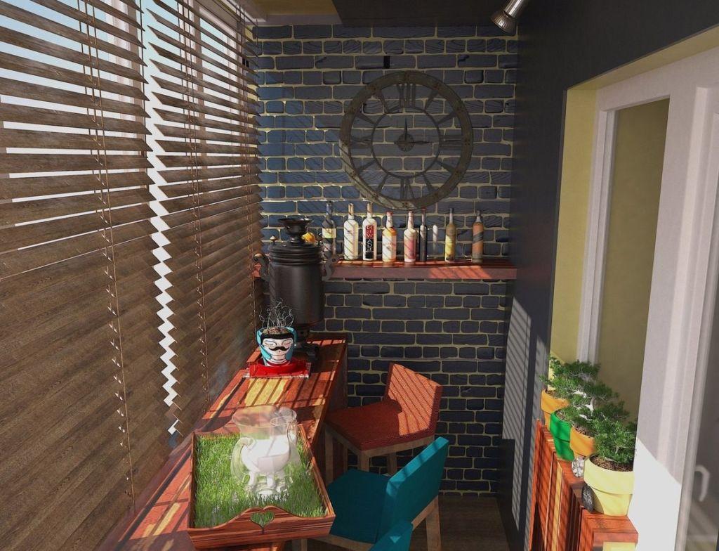 Черная кирпичная стена в интерьере балкона