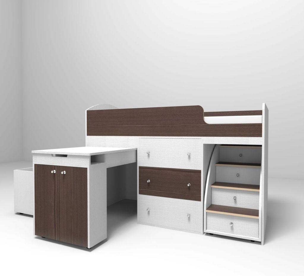 На нижнем ярусе могут быть ящики для одежды, шкаф или игровая зона