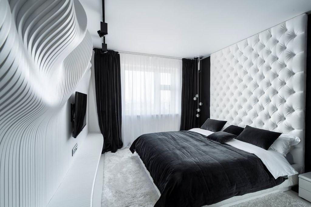 Допускается использование черных элементов, которые не будут перегружать общий интерьер белой спальни