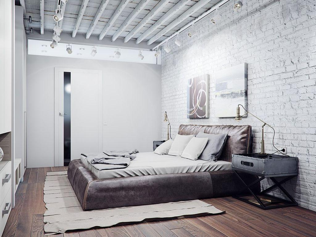 К стилю лофт хорошо подойдет окраска белым кирпичной стены и покрытие пола из древесных материалов