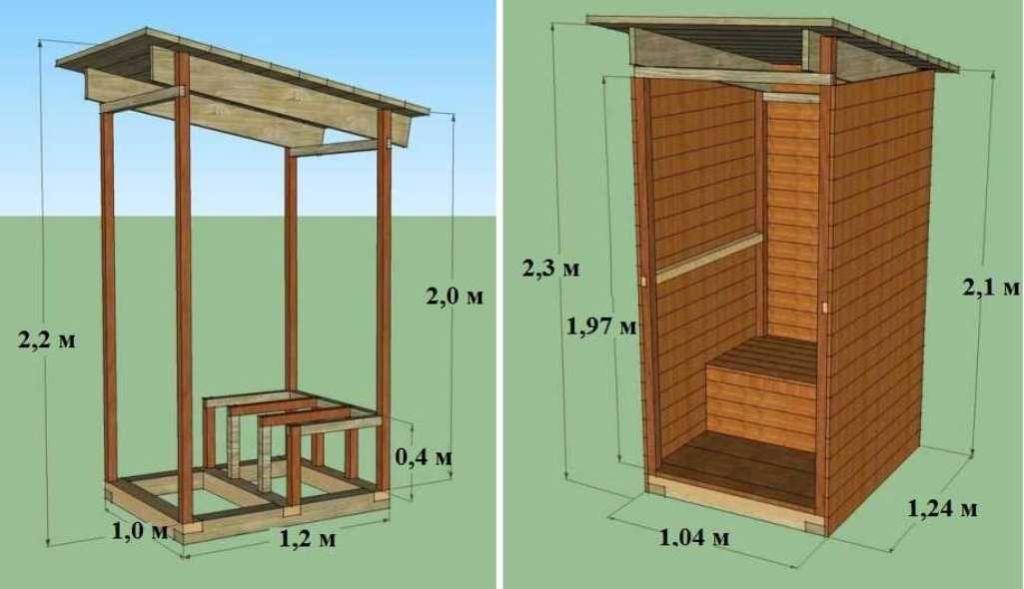 Чертеж деревянного туалета для дачи
