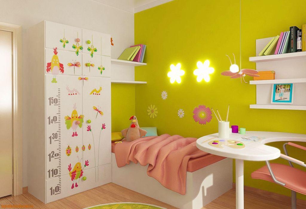 Цвет комнаты девочки может быть любым, важно сделать акцент на деталях