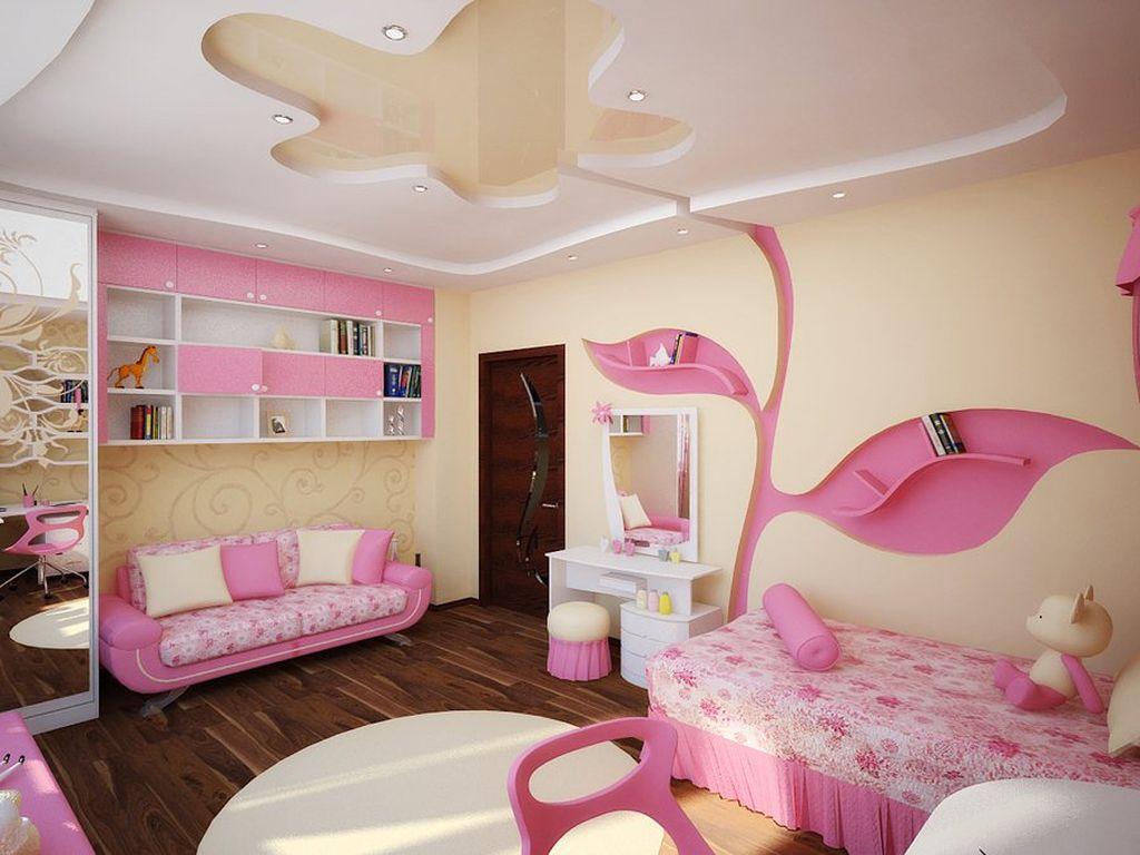 В комнате девочки можно выбрать кровать необычной формы среди пастельных оттенков стен