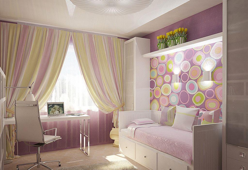 Для спальни девочки традиционно выбирают светло-розовые оттенки