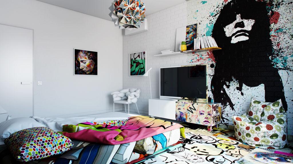 Дизайн комнаты для подростка граффити