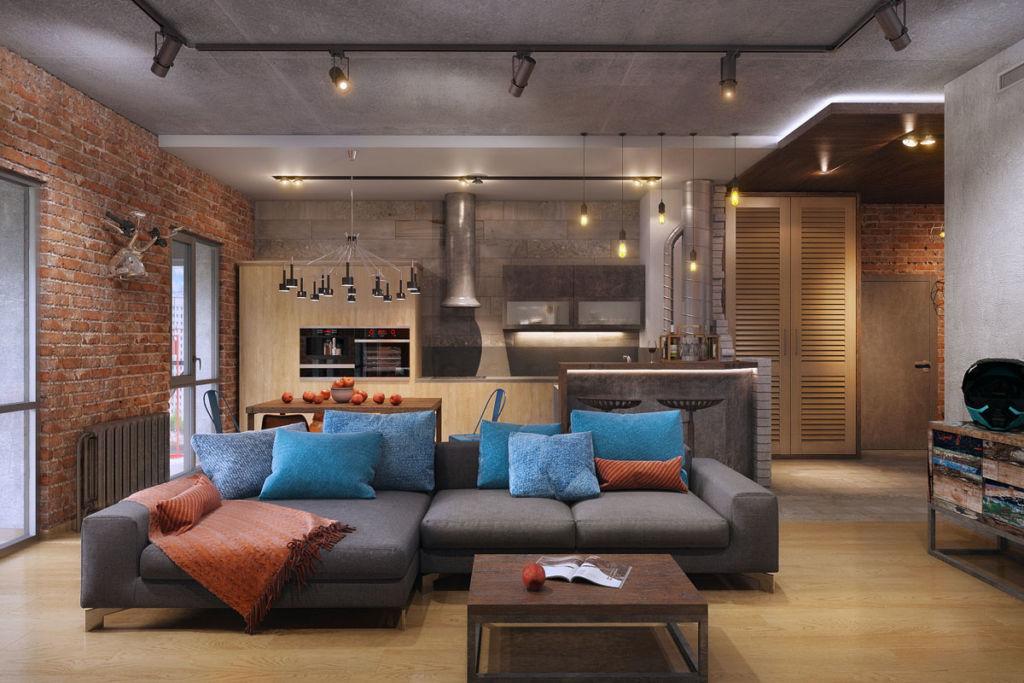 Зонирование пространства при помощи дивана