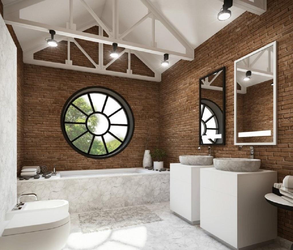 Окно в ванной в стиле лофт подойдет для креативных людей