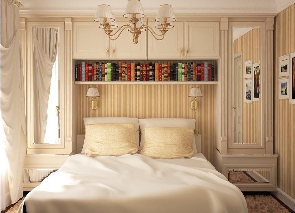 Большое количество полочек над кроватью помогут сэкономить место на полу