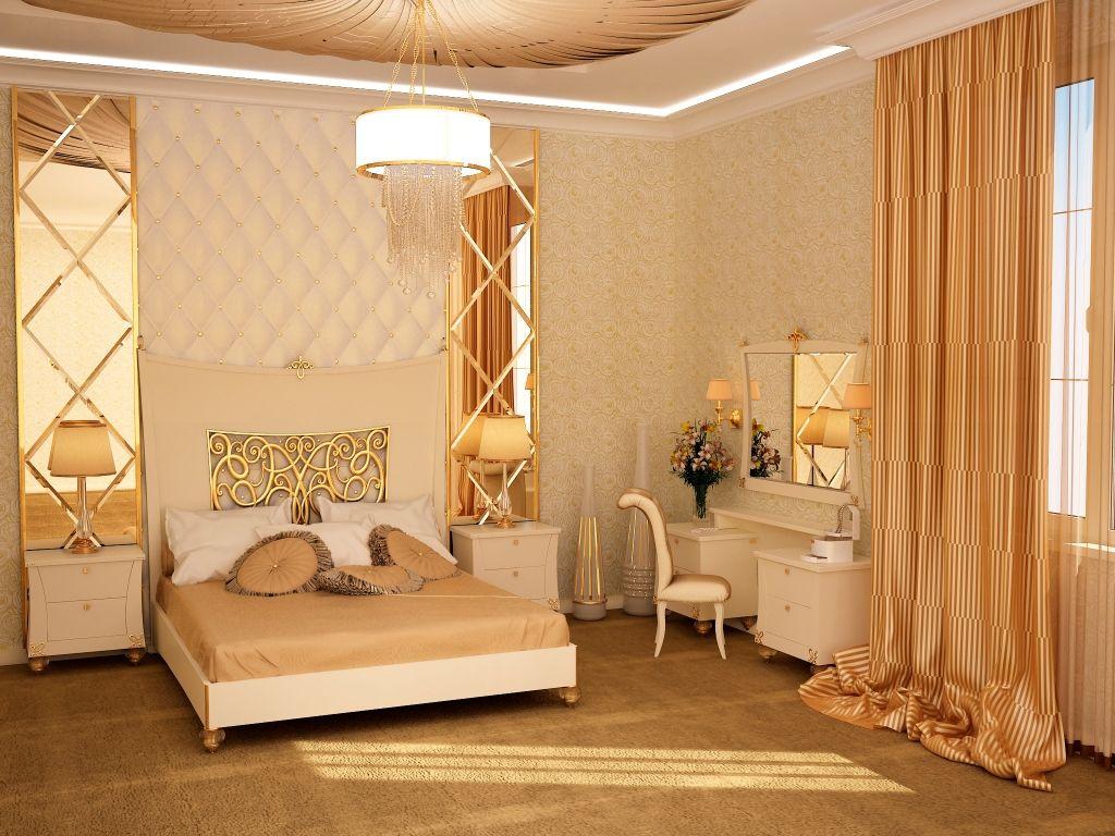 В спальне можно прикрепить зеркало к шкафу или повесить около туалетного столика