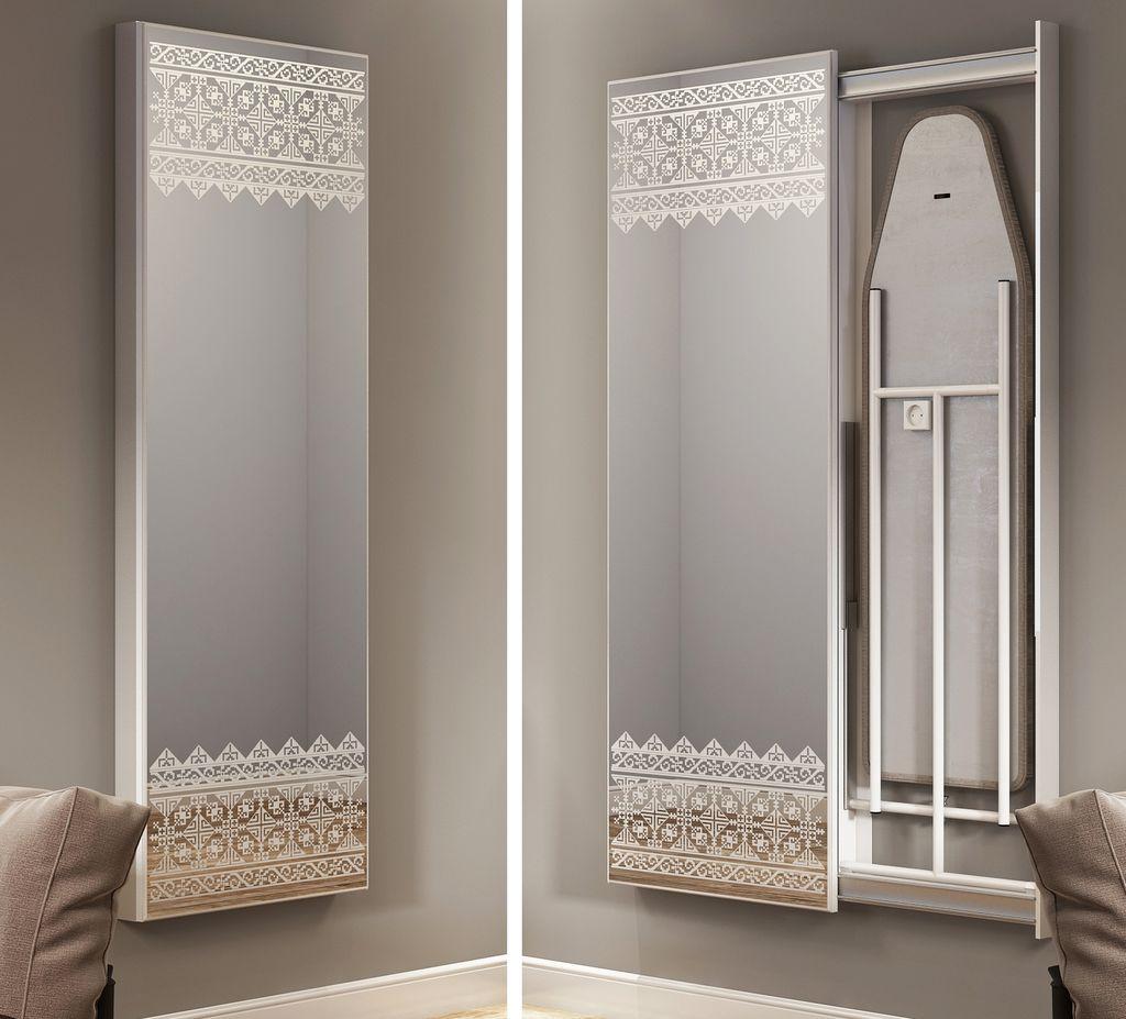 Гладильная доска за зеркалом незаметна в сложенном виде
