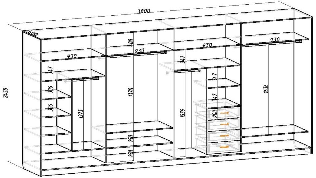 Чертеж шкафа на всю стену с размерами