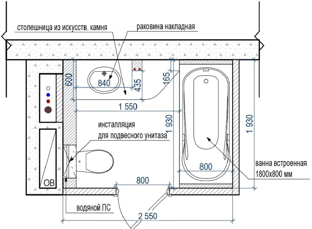 Дизайн-проект совмещенного санузла должен включать схему расстановки сантехники и мебели