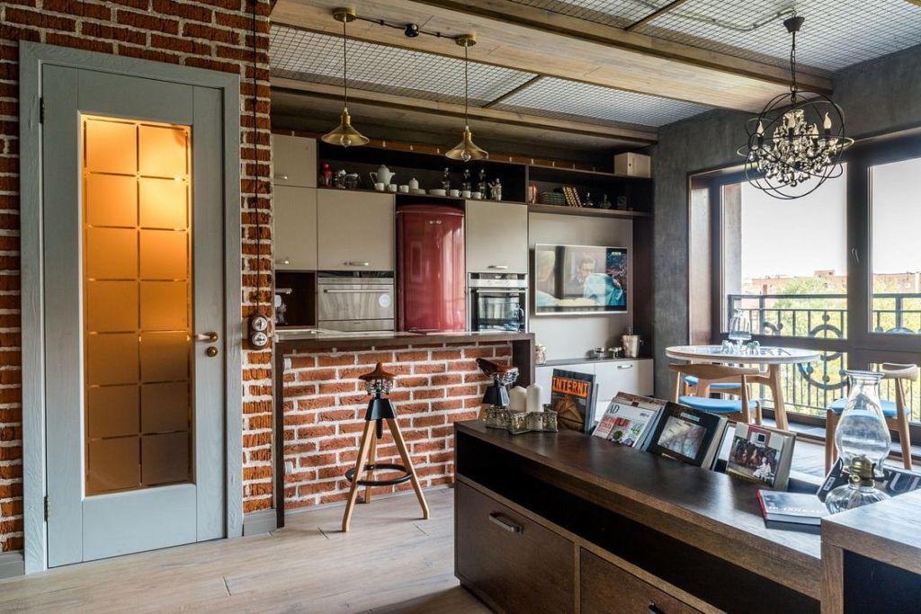 Кухня-прихожая в стиле лофт интересное решение для современных жилых помещений