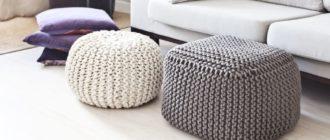 7 способов изготовить вязаный пуф с помощью крючка, спиц или старого свитера, который жалко выбросить