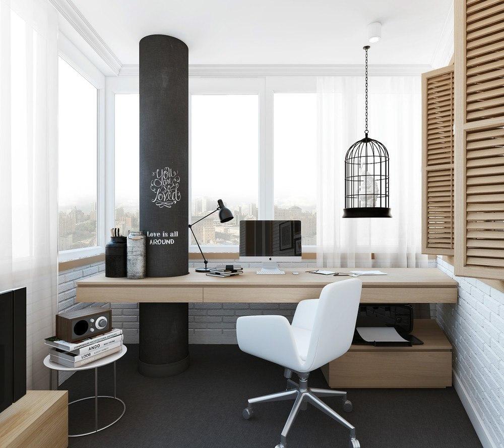 Рабочий стол располагается в зависимости от планировки балкона