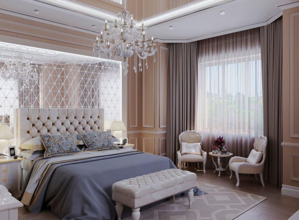 Дизайн большой спальни в классическом стиле