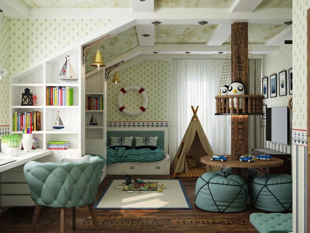 Интерьер комнаты должен быть интересным для ребенка и тематическим
